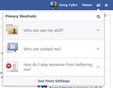 Now you can quickly access your privacy options from any Facebook page.