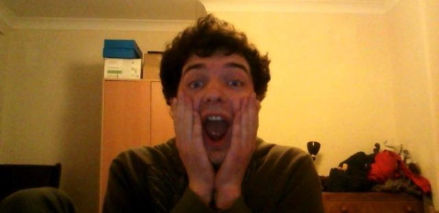 Me reenacting the scream face from Home Alone
