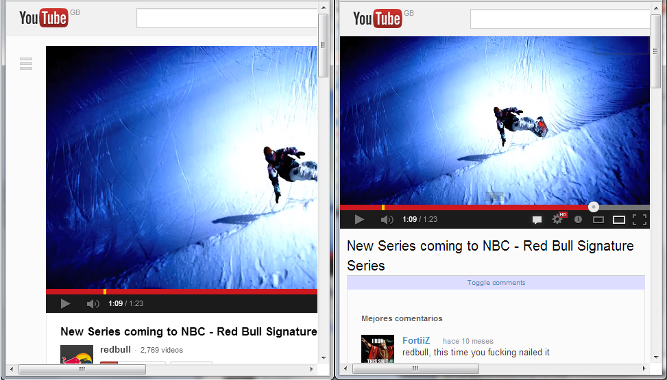 A before and after comparison of YouTube, shrunken to a smaller window.